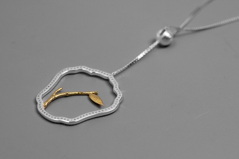 INATURE 925 Sterling Silver Necklace Jewelry Vintage Bamboo CZ Crystal Zircon Stone Pendant Necklace
