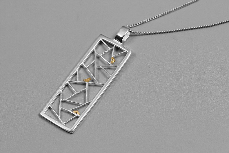 INATURE 925 Sterling Silver Fashion Bird on Window Statement Pendant Necklace for Women Jewelry Gifts