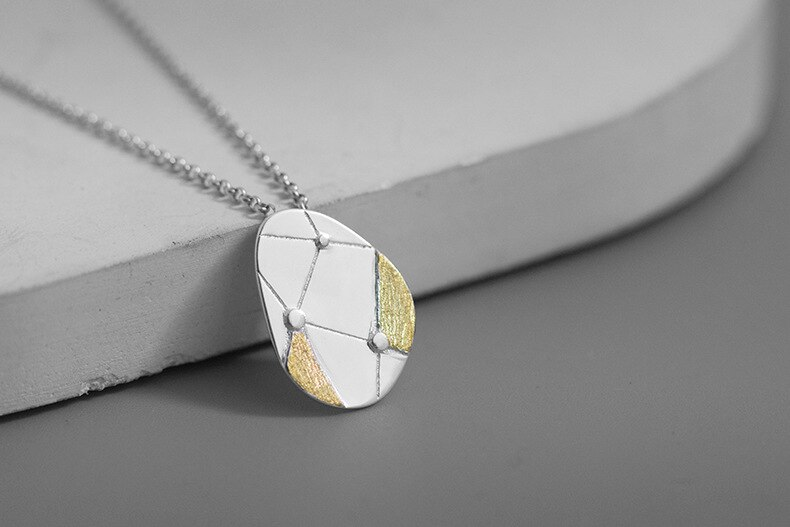 INATURE 925 Sterling Silver Fashion Geometric Line Pendant Necklace For Women Jewelry
