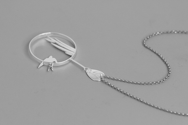 INATURE 925 Sterling Silver Elegant Flying Swallow Pendant Necklace For Women Jewelry Gift