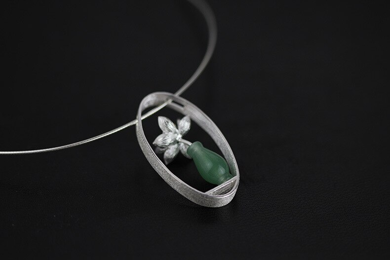 INATURE 925 Sterling Silver Necklace Natural Aventurine Vase Flower Necklaces Pendants for Women Jewelry Gifts