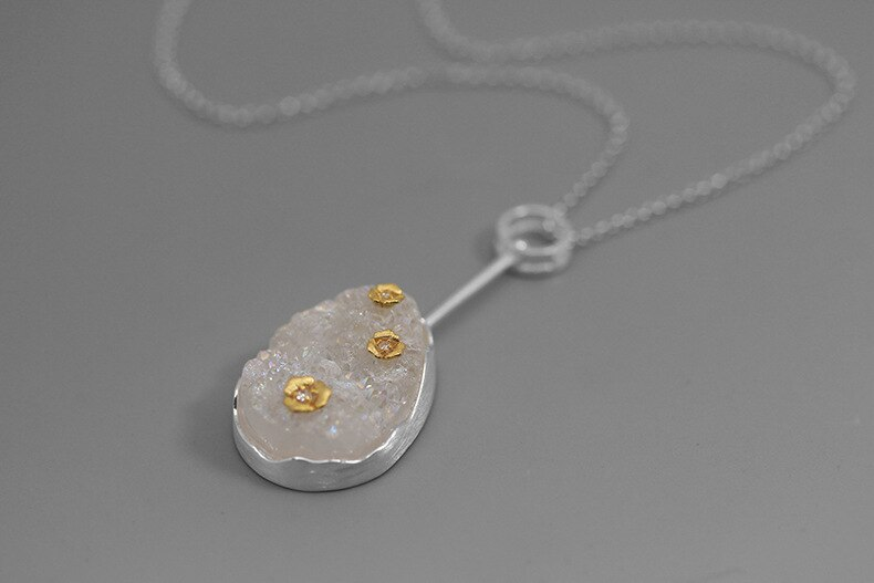 INATURE Natural Rainbow Agate Cute Flower 925 Sterling Silver Pendant Necklace For Women Fine Jewelry