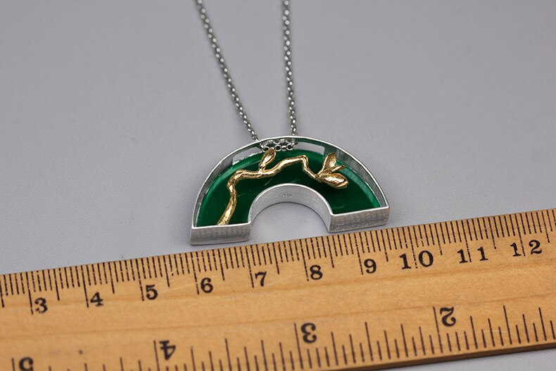 INATURE Natural Green Agate Stone Pendant Necklace 925 Sterling Silver Orchid Flower Necklaces Jewelry