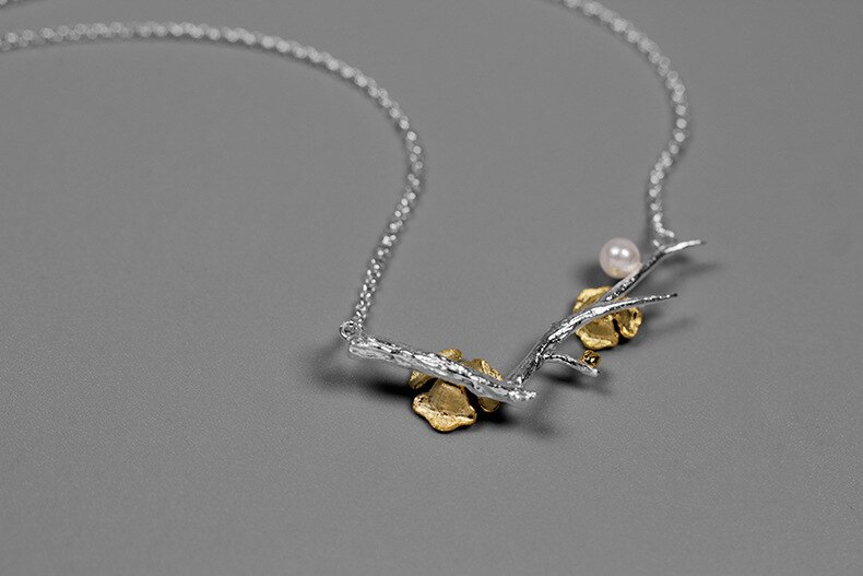 INATURE Vintage Plum Flower Tree Branch Necklaces Pendants 925 Sterling Silver Chain Choker Necklaces for Women Jewelry