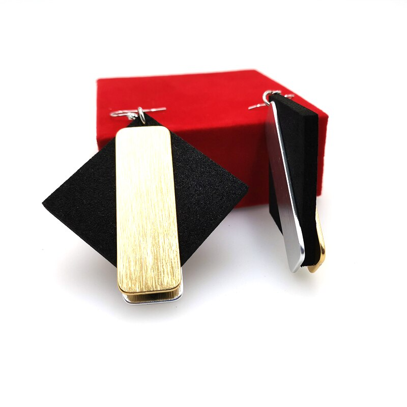 YD&YDBZ 2019 Rose Gold And Silver Colour Sides Color Earrings For Women Fashion Handmade Designer Jewelry Earrings Harajuku Punk