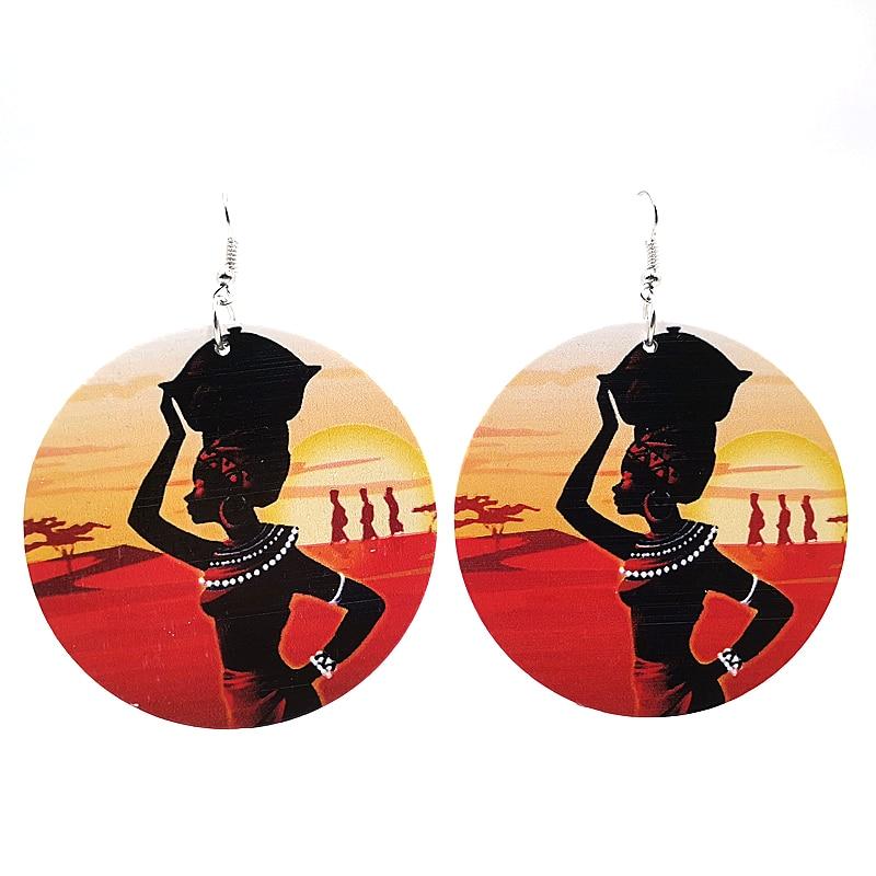 YD&YDBZ New Drop Earrings For Women Big Earring A Piar Of Earrings Jewelry Printing Wood Earring Punk Girls Dance Birthday Gifts