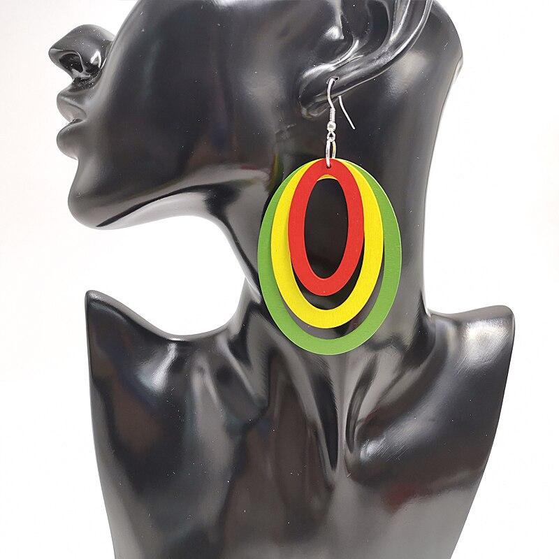 YD&YDBZ New Square And Oval Geometric Wooden Earrings Women Drop Earrings 6cm Big Accessories Punk Style Fashion Jewelry Wedding