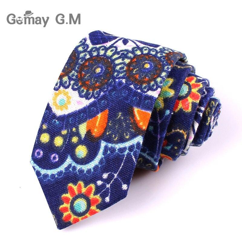 Men Tie Floral Print Neckties For Men Formal Cotton Linen Slim Ties For Wedding Party 6cm Width Skinny Groom Neck Ties Cravat