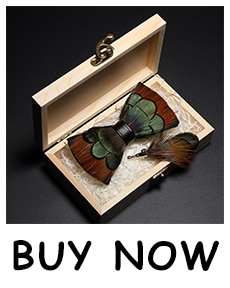 JEMYGINS original design men's bow tie feather bow artificial leather bow tie brooch wooden box carton set wedding party gift