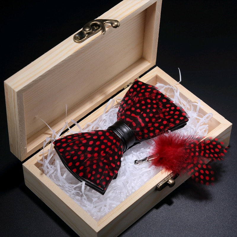 JEMYGINS Original Black Red Dot Feather Hand Made Bow Tie Fashion Leather Bowtie Brooch Pin Gift Box Set For Men Wedding Party