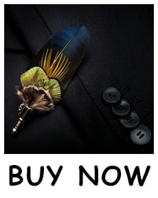 JEMYGINS fashion men's bow tie handmade leather bow tie peacock feather bow business party wedding bow tie brooch wooden box set