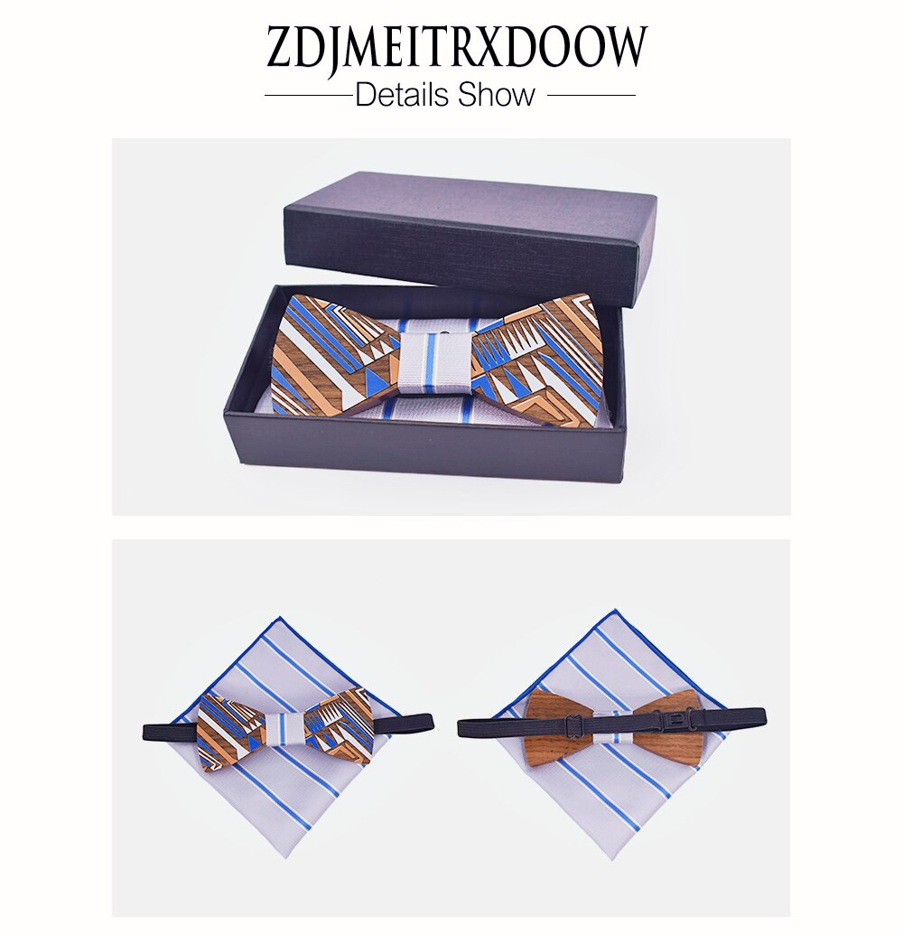 Fashion Men Bow tie 16mm Cufflinks Pocket Squares Set Man Bowtie Handkerchief Set For Wedding Vintage Striped Hanky