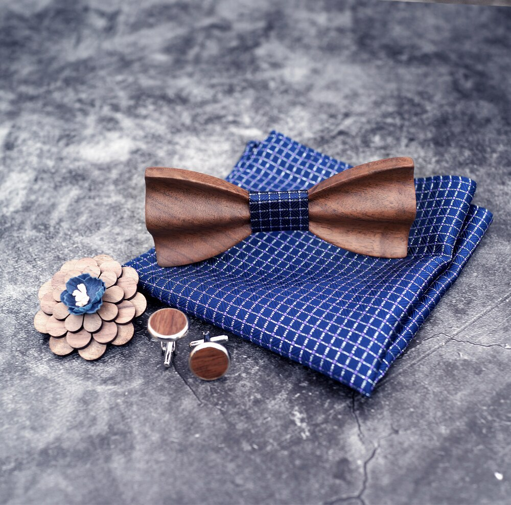 New 2020 Adjustable 3D Wooden Bow Tie Set Plaid Floral Pocket Square Brooch and Cufflinks With Wood Box For Men Bowtie Sets