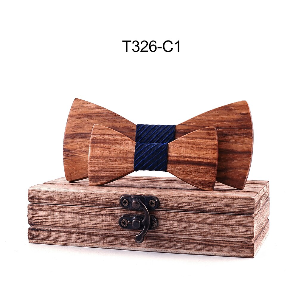 Parent-Child Bowtie Set Zebra wood  Plaid Family Butterfly Party Dinner Wedding Design Cute Bow tie Strip Navy Blue Accessory