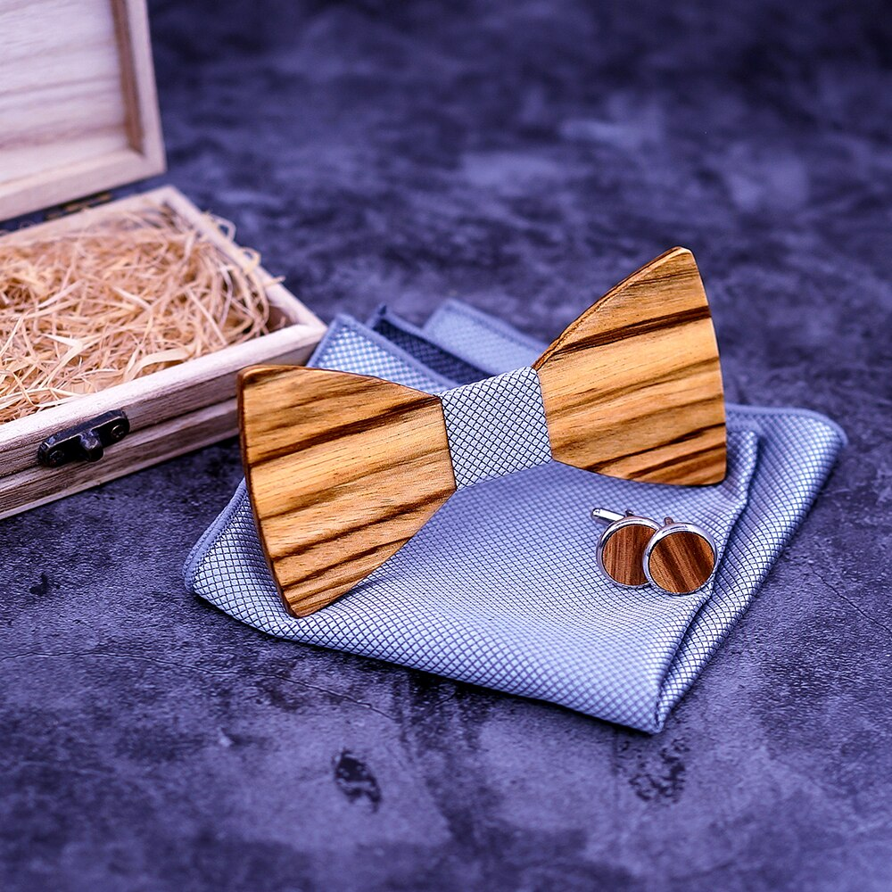 Zebra Wooden Bow Ties Gravatas Corbatas Business Leather Ties For Men Wooden Butterfly Wood tie men bow tie Sets