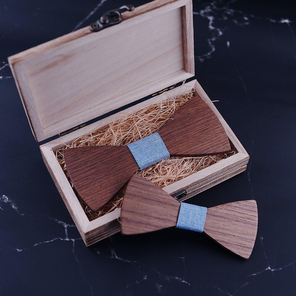 Parent-Child Wooden Butterfly Set  Jacquard Figured Cloth Men Bowtie Adult Party Festival Cravat Accessory Gift corbatas seda