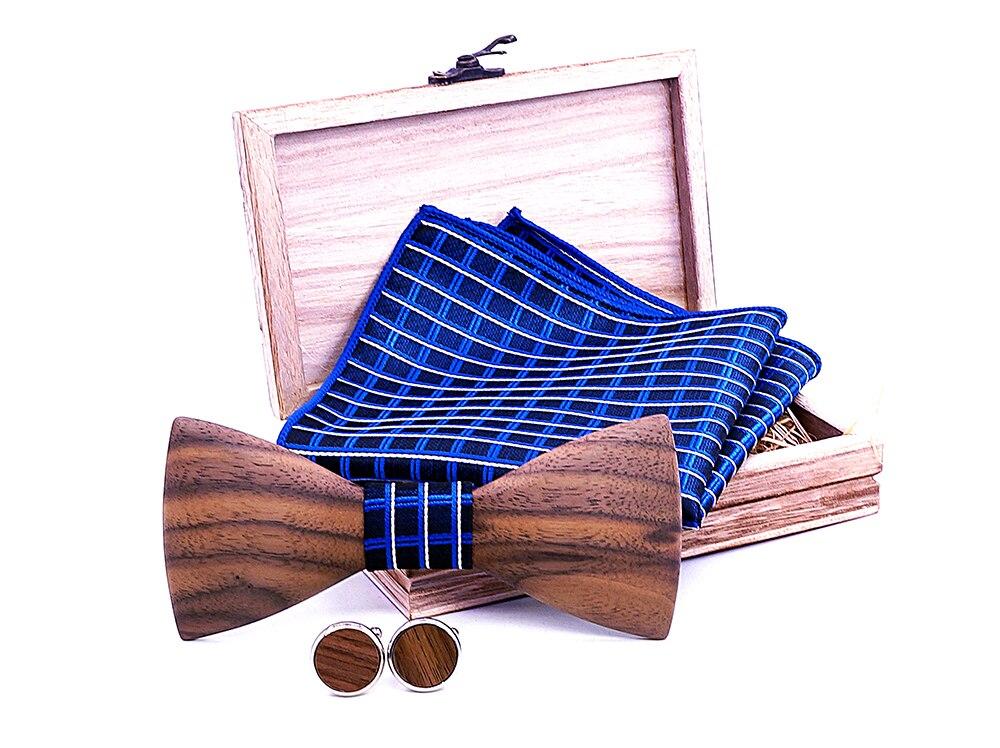 Paisley 3D Walnut Wooden Bow Tie Navy blue Plaid Handkerchief Cufflink Set For Mens Wedding Novelty Accessory Ties and Box