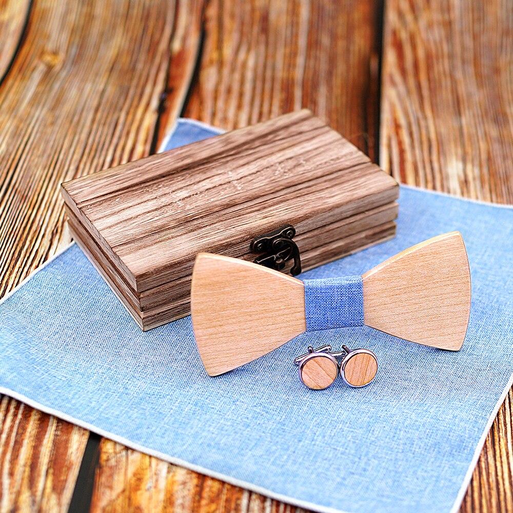 Wooden Bow Tie set and Handkerchief Bowtie Necktie Cravate Homme Noeud Papillon Corbatas Hombre Pajarita Gift for men Light blue