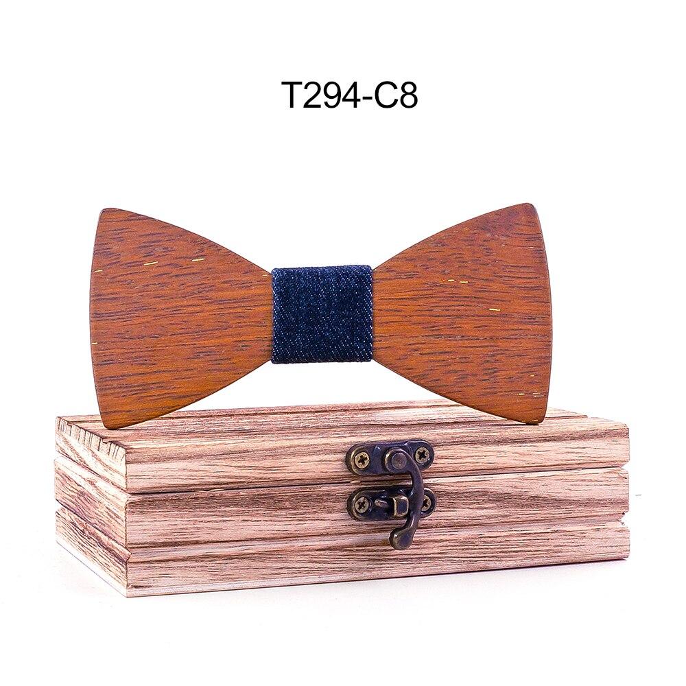 Mens Wooden Bow Ties Party Business Butterfly Cravat Ties Polyester Black Dot Merbau Wood paisley Set gravatas para homens