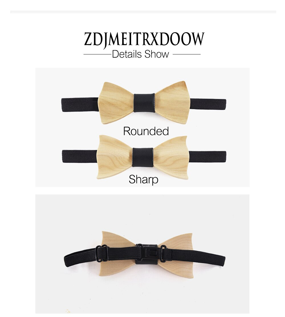 New kid 3D high-end Wooden Bow tie Boys And Girls Dress Shirts  Suits Bow tie Children Boys Girls Wooden Decoration