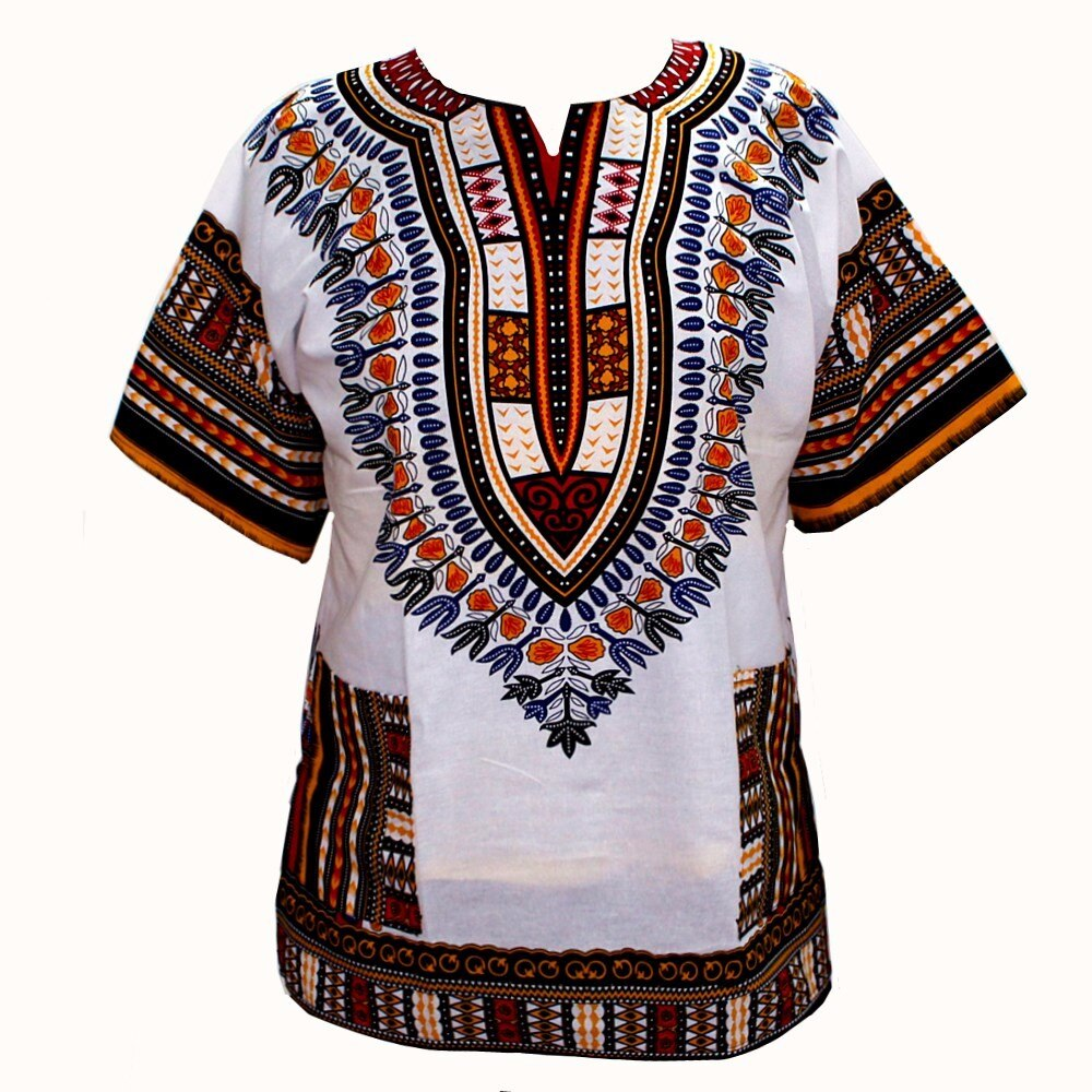 (fast shipping) 2016 Newest Fashion Design African Traditional Print 100% Cotton Dashiki T-shirt for unisex