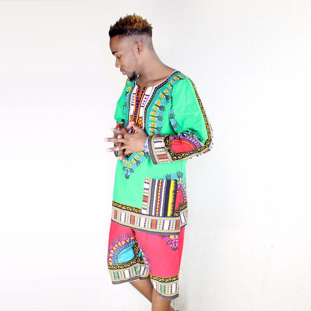 100% Cotton African Traditional Green Men Full Long Sleeve Pockets Dashiki T-shirt