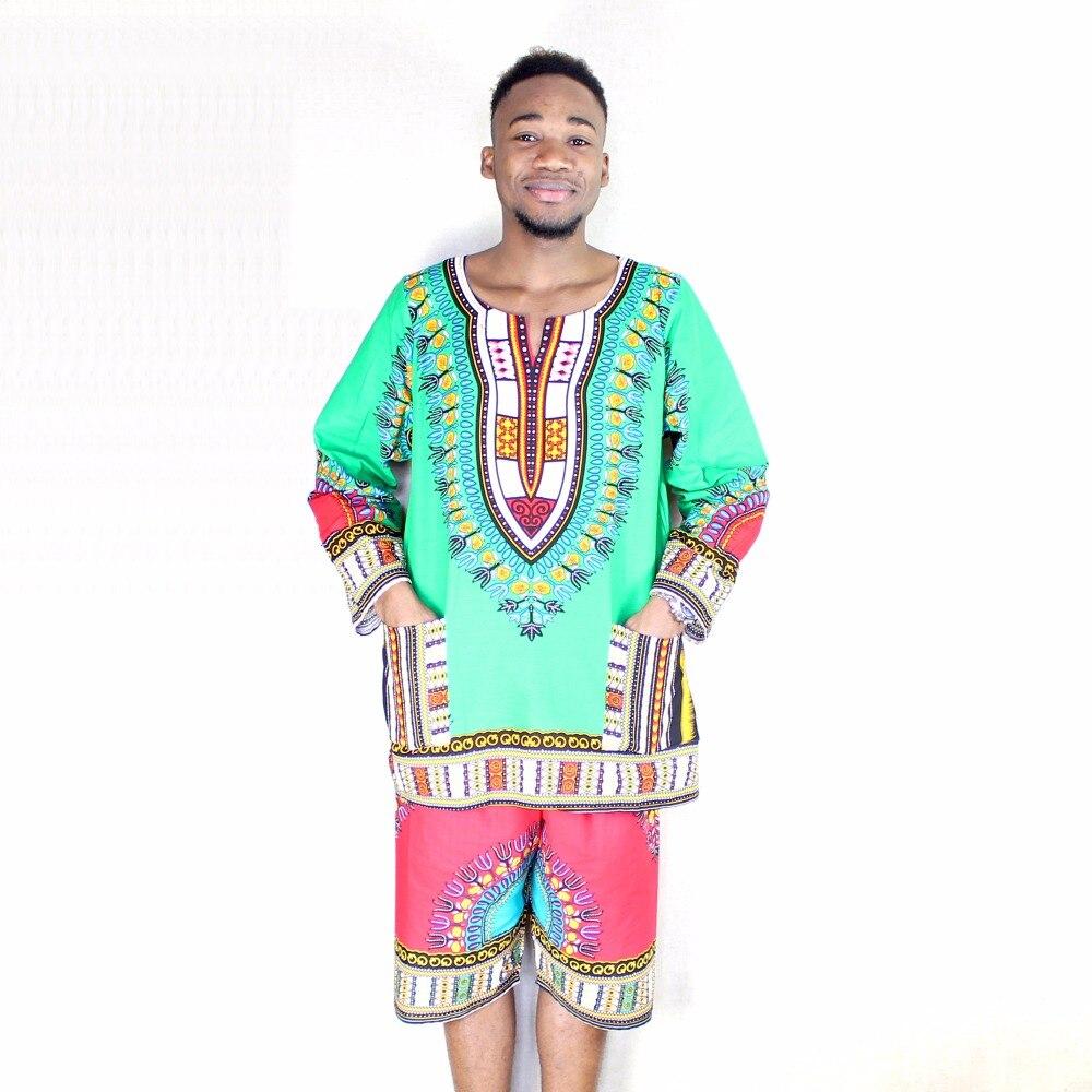 100% Cotton African Traditional Green Men Full Long Sleeve Pockets Dashiki T-shirt