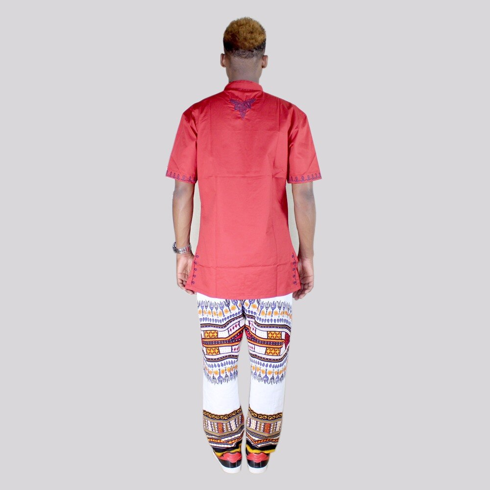 Dashikiage Stylish Red Embroidery African Unisex Cotton Hipster Hip Hop African Dashi ripped Crew Neck T-shirt