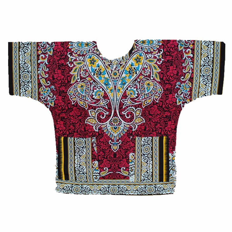 (fast shipping) 2016 New fashion design african traditional red print 100% cotton Dashiki T-shirt for unisex