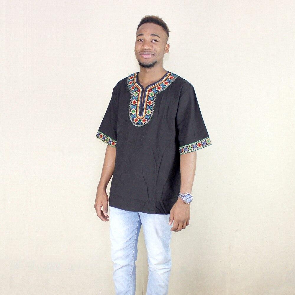 Dashikiage Unisex New Fashion Hipster Hip Hop Black Embroidery African Dashiki T-shirt