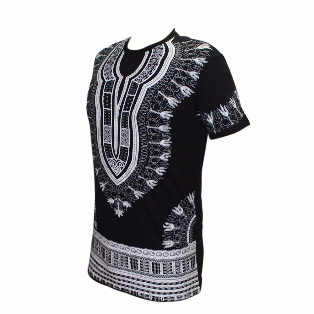 Dashikiage Unisex Women Men's African Dashiki T-shirt Boho Hippie Kaftan Festive Tribal Gypsy Ethnic Top Traditional Blouse