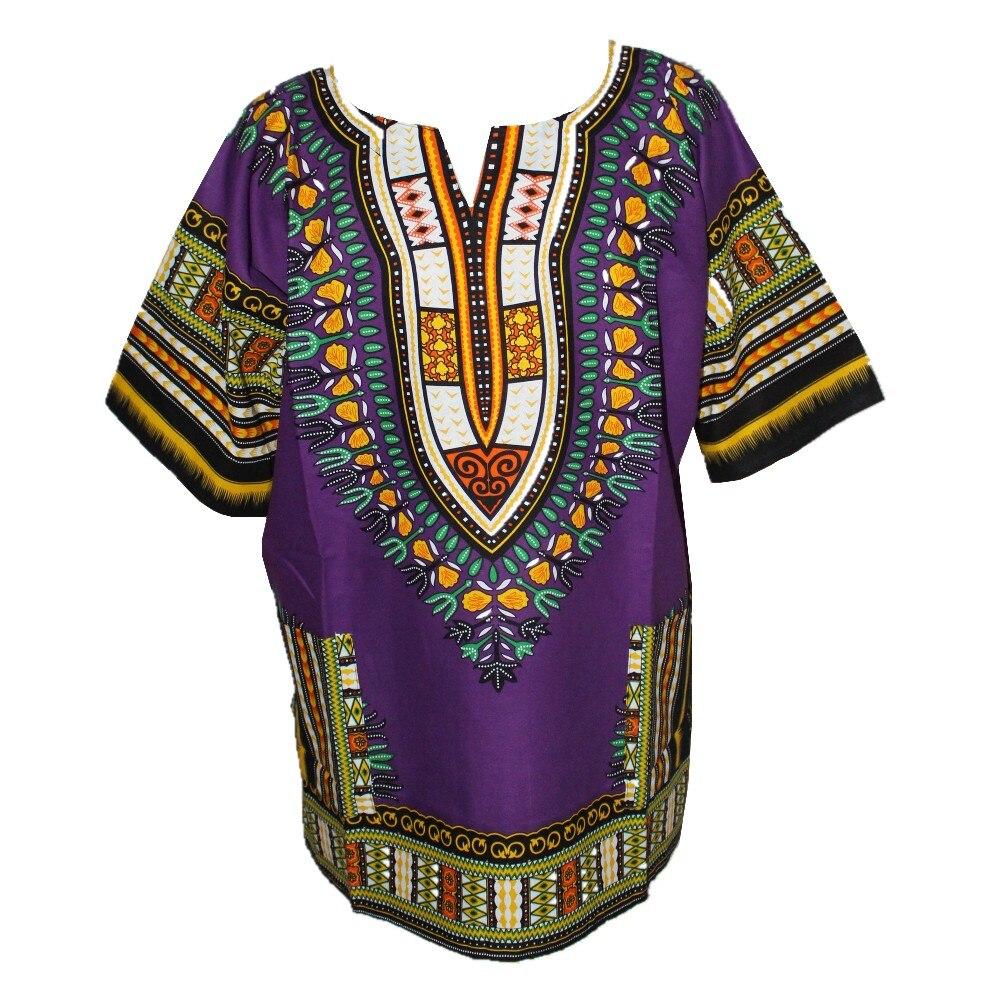 (Fast shipping) Dashiki Fashion Design African Traditional Printed 100% Cotton Purple Dashiki T-shirts for Unisex