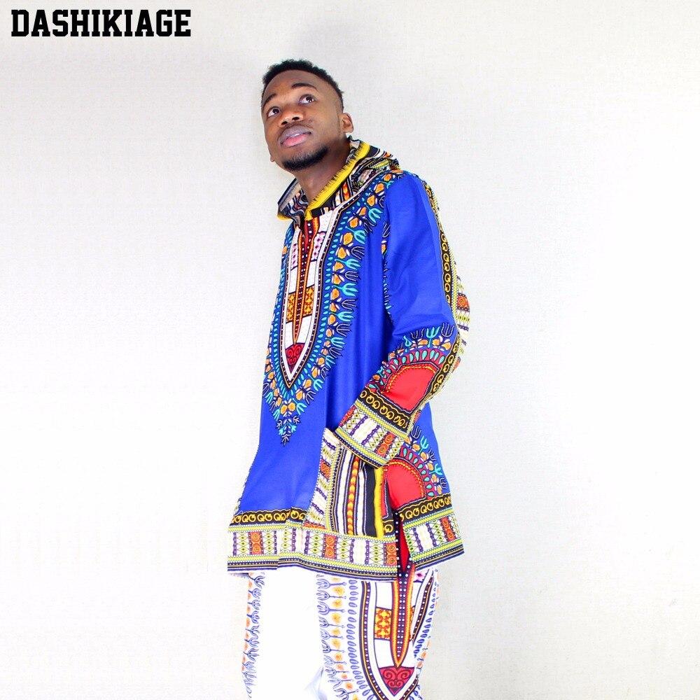 Dashikiage Pure Cotton African Dashiki Hoodie Hippie Shirt Boho Caftan Blouse Blue Top Unisex Housecoat