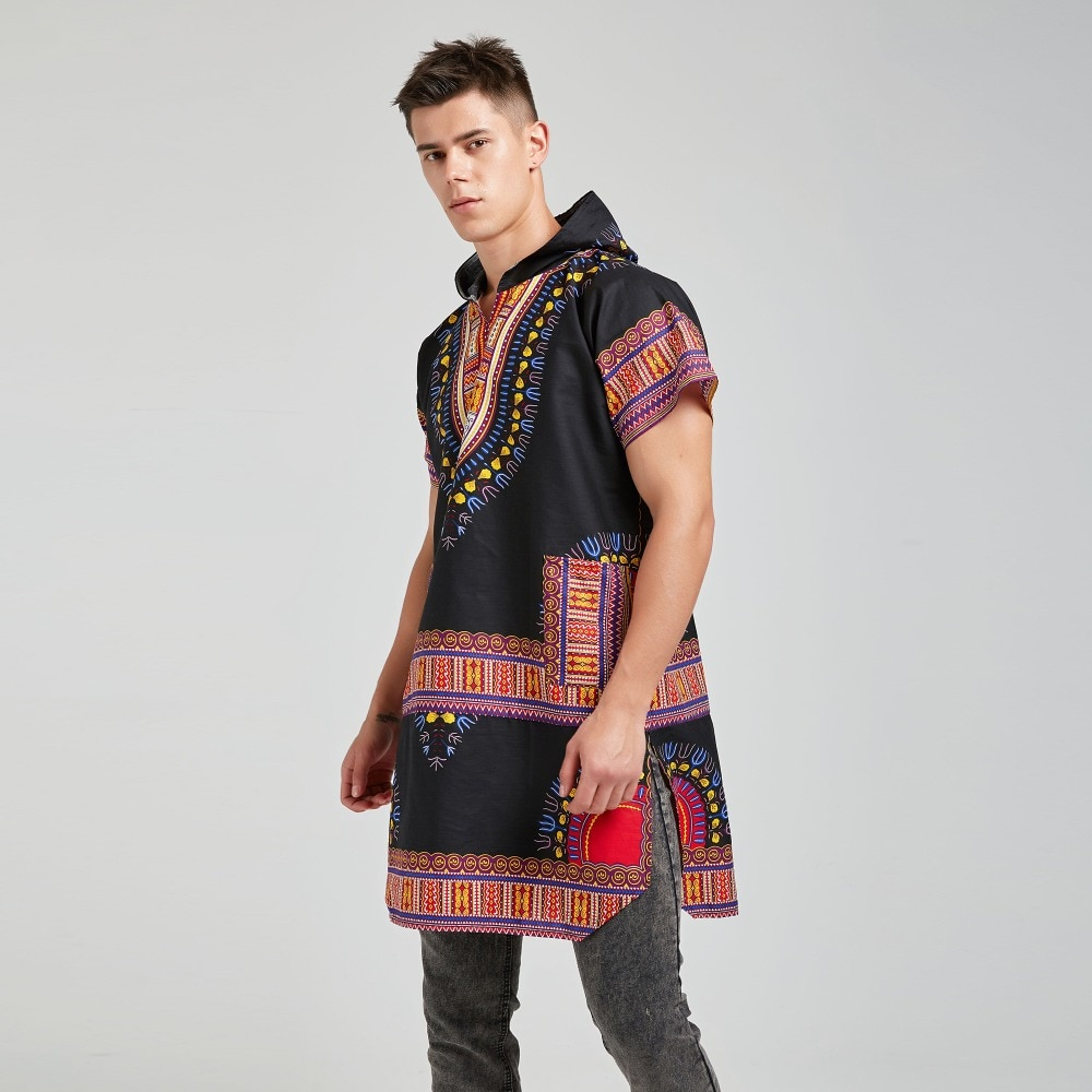 100% Cotton Unisex Dashiki Africa Clothing Print Loose Shirt Hoodies Traditional Hipster African T-shirt Tribal Ethnic Top