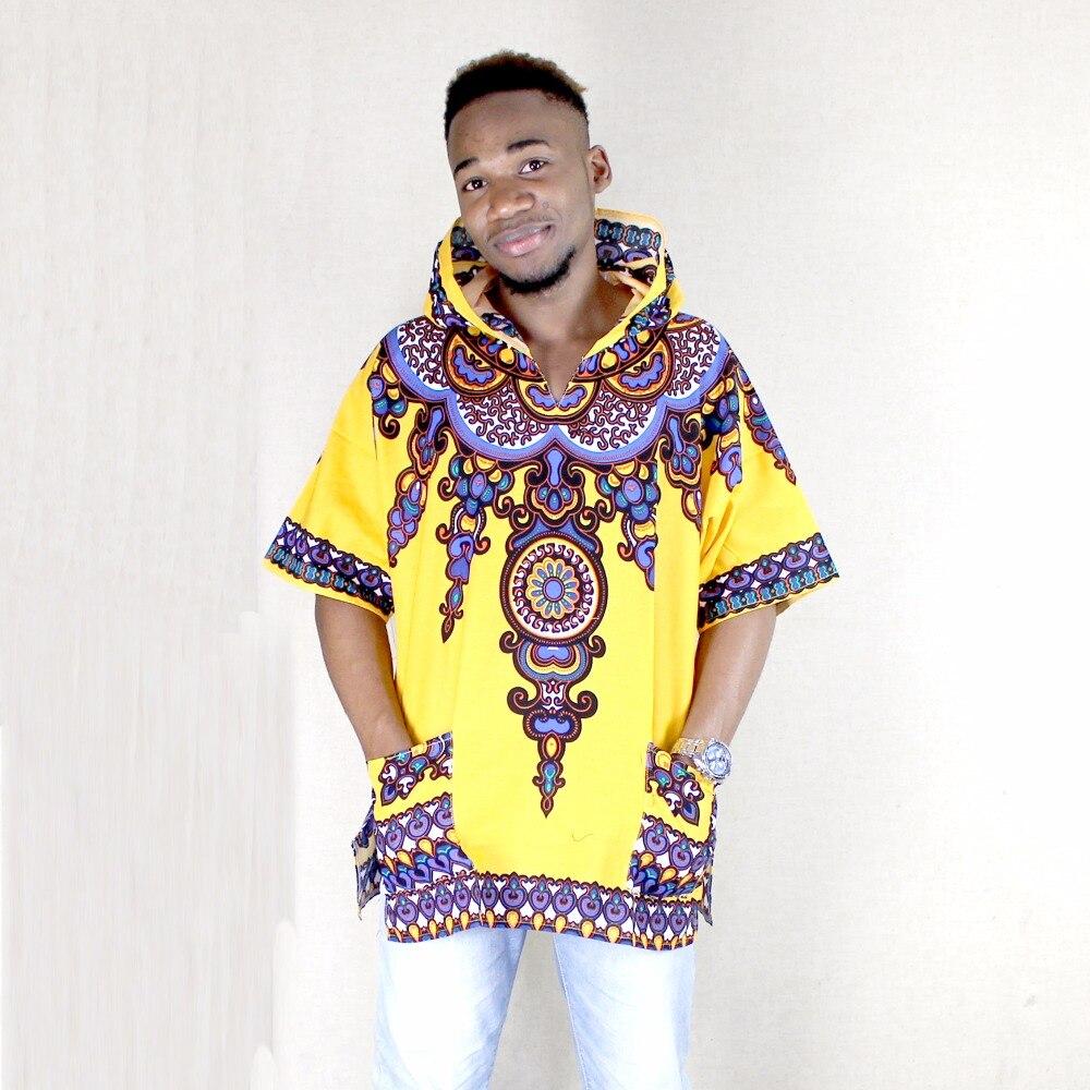 Dashikiage Yellow Mens Hipster Hip Hop African Dashiki Fabric Elongated longline Hoodie t shirt Hoody