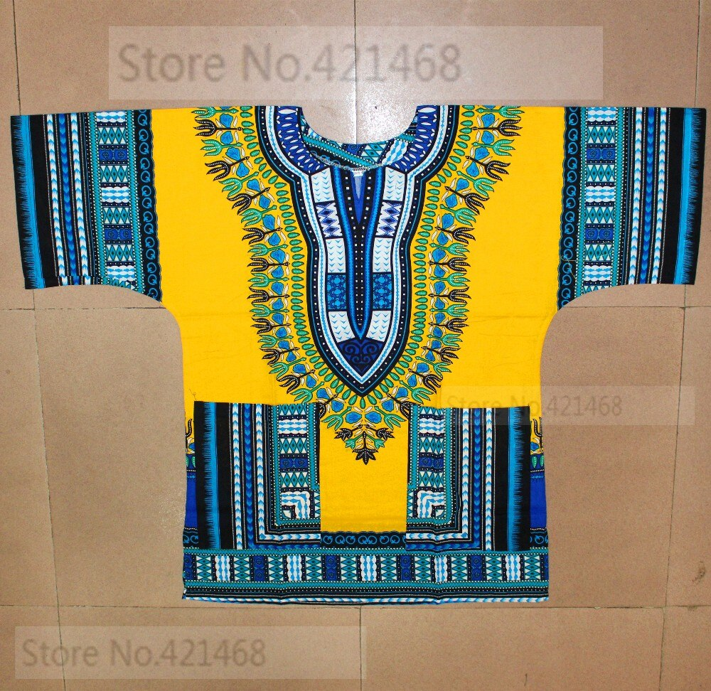 (Fast shipping) New fashion design african traditional printed 100% cotton Dashiki T-shirts for unisex (MADE IN THAILAND)