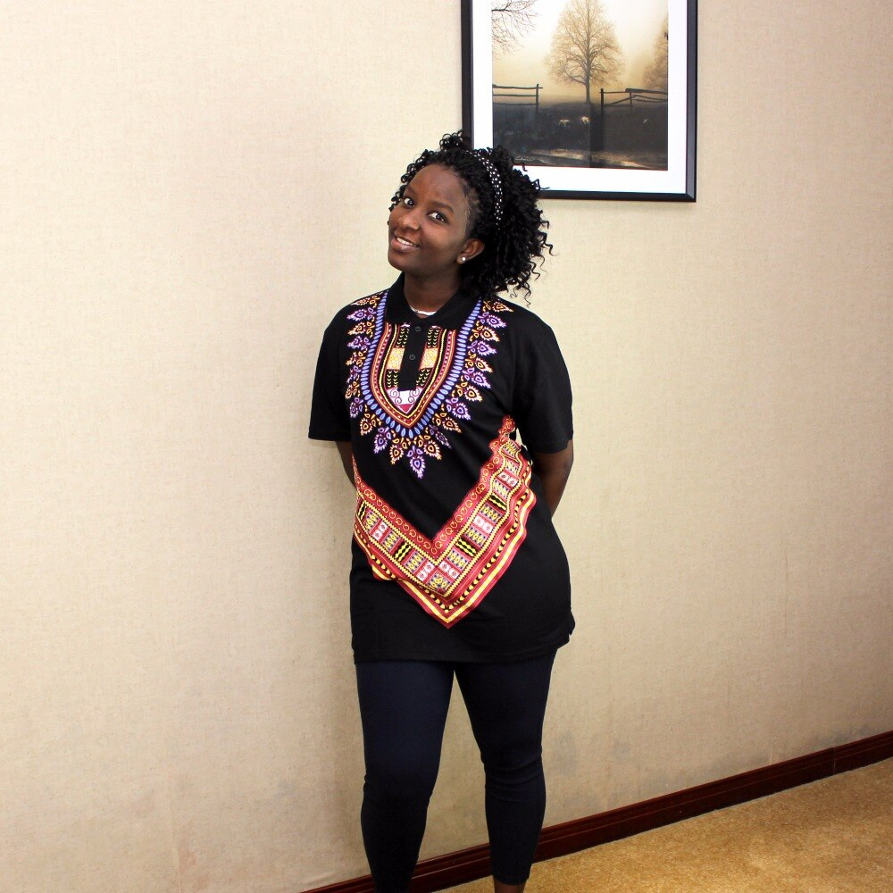 Dashikiage African Tribal Shirt Dashiki Print Men Black  Succinct  Hippie Top Blouse Clothing