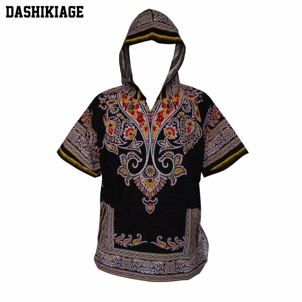 Dashikiage Mens Hipster African Swag Dashiki Fashion Loose Traditional Long Hoodie Top W/ Hood