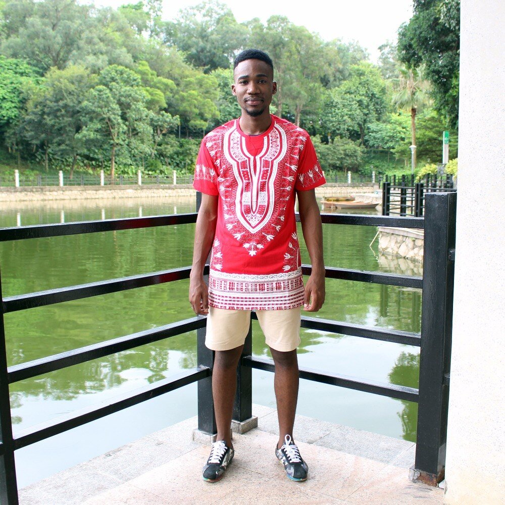 Dashiki T-shirt 2017 African Men Traditional Print Dashiki Short Sleeve Bazin Riche T-shirt Clothing African Cotton Tops For Man