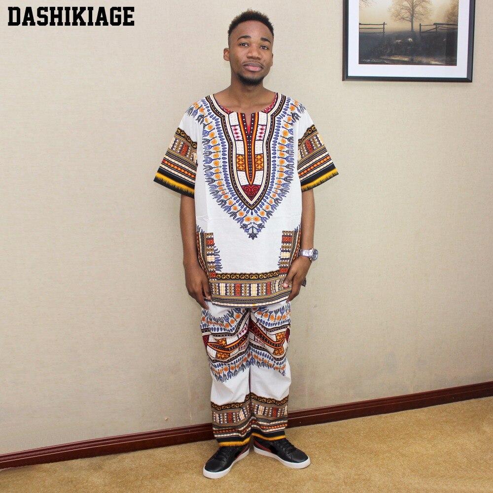 Unisex Dashiki Set Suit African Pant Set Shirt & Pant kufi Tribal One Size