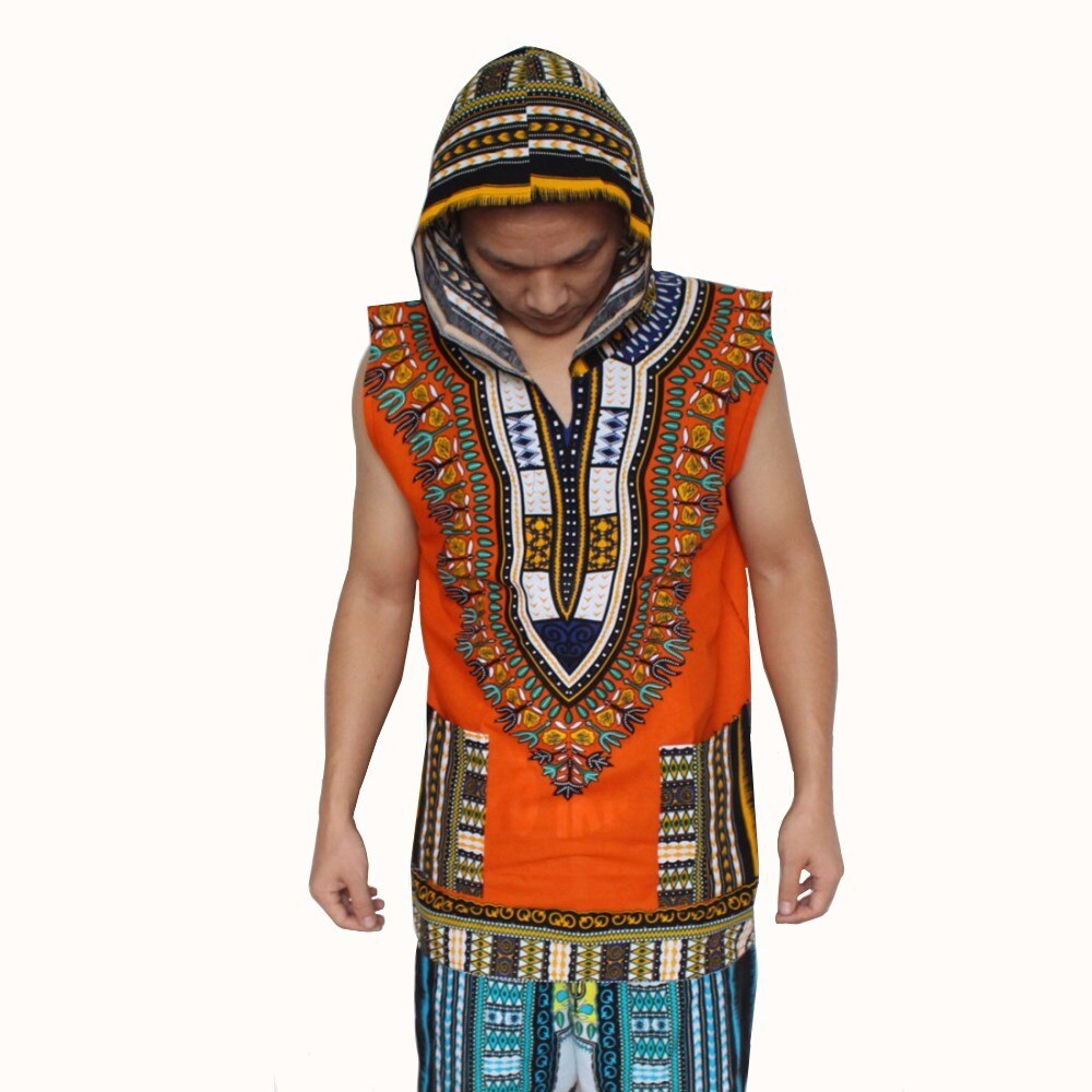 Sleeveless Dashiki Hoodies Loose African Hooded Dashiki Fabric Hoody 100% Cotton Fashion Clothes Unisex Kimono with Pocket