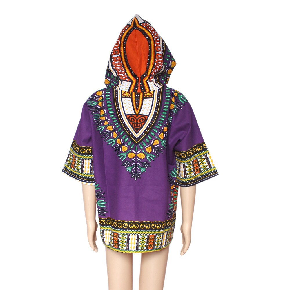 Dashikiage Unisex Kids Dashiki Hoodies African T-shirt Boho Hippie Kaftan Festive Tribal Gypsy T-shirt with Hood