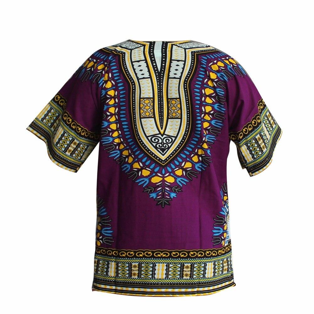 Dashikiage Unisex Cotton Dashiki Mens Women African T-Shirt Traditional Tribal Ethnic Succunct Hippie Top - One Size