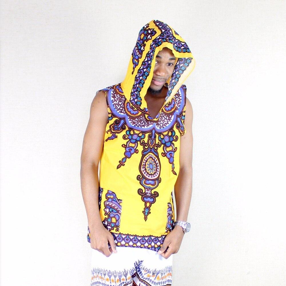 DASHIKIAGE 100% Cotton Sleeveless yellow African Dashiki Hoodie Traditional Hooded African Dashiki Shirt