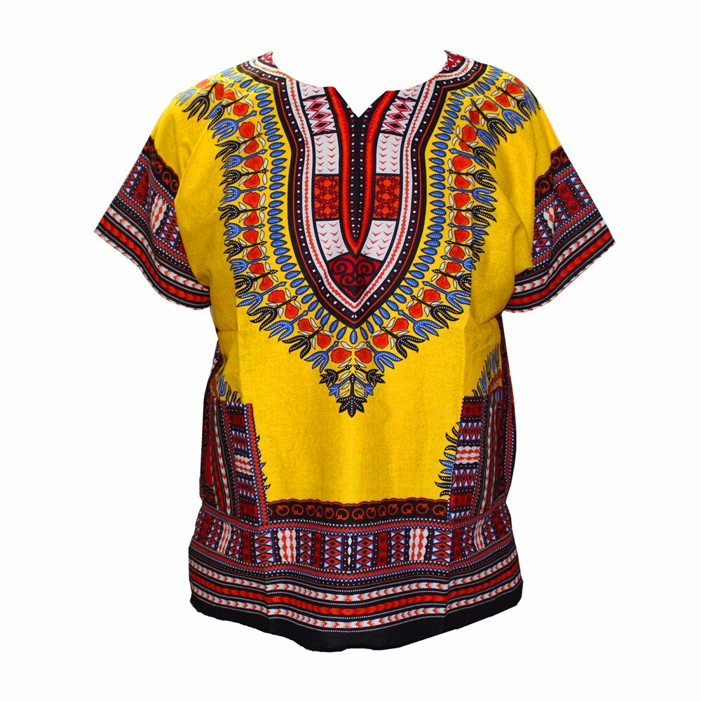 Boho Yellow Gold Dashiki Men Hippie Punk Traditional Dashiki Fabric Top Shirt for African Wear Clothing
