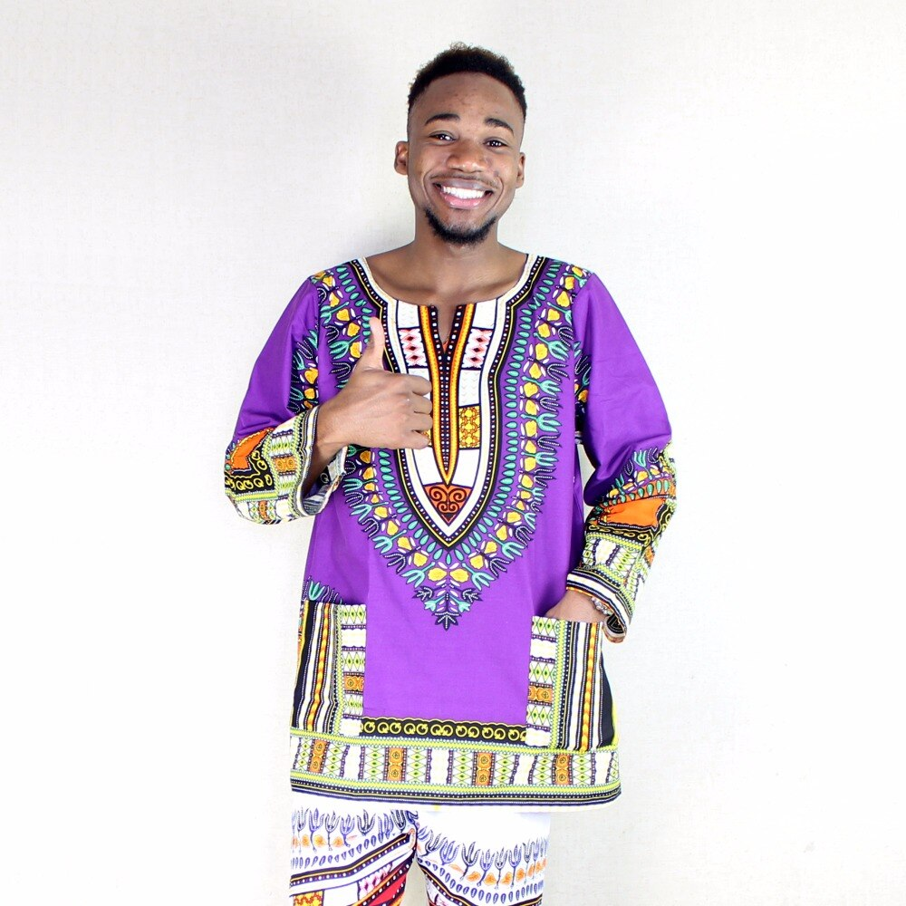 Dashikiage Men's Mexican African Hippie Dashiki Cotton Long Sleeve Print Tops t shirts