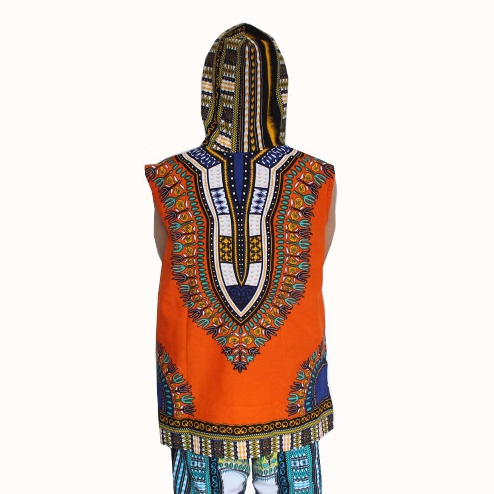 (3pcs/lot) Wholesale African Hoody Sleeveless 100% Cotton Men's Hoodie Dashiki with Hood