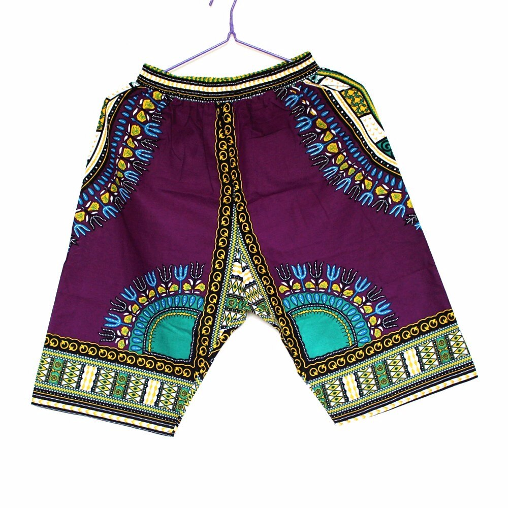 8 Colors Plus Size New 100% Cotton Dashiki Fabric African Dashiki Short Pants