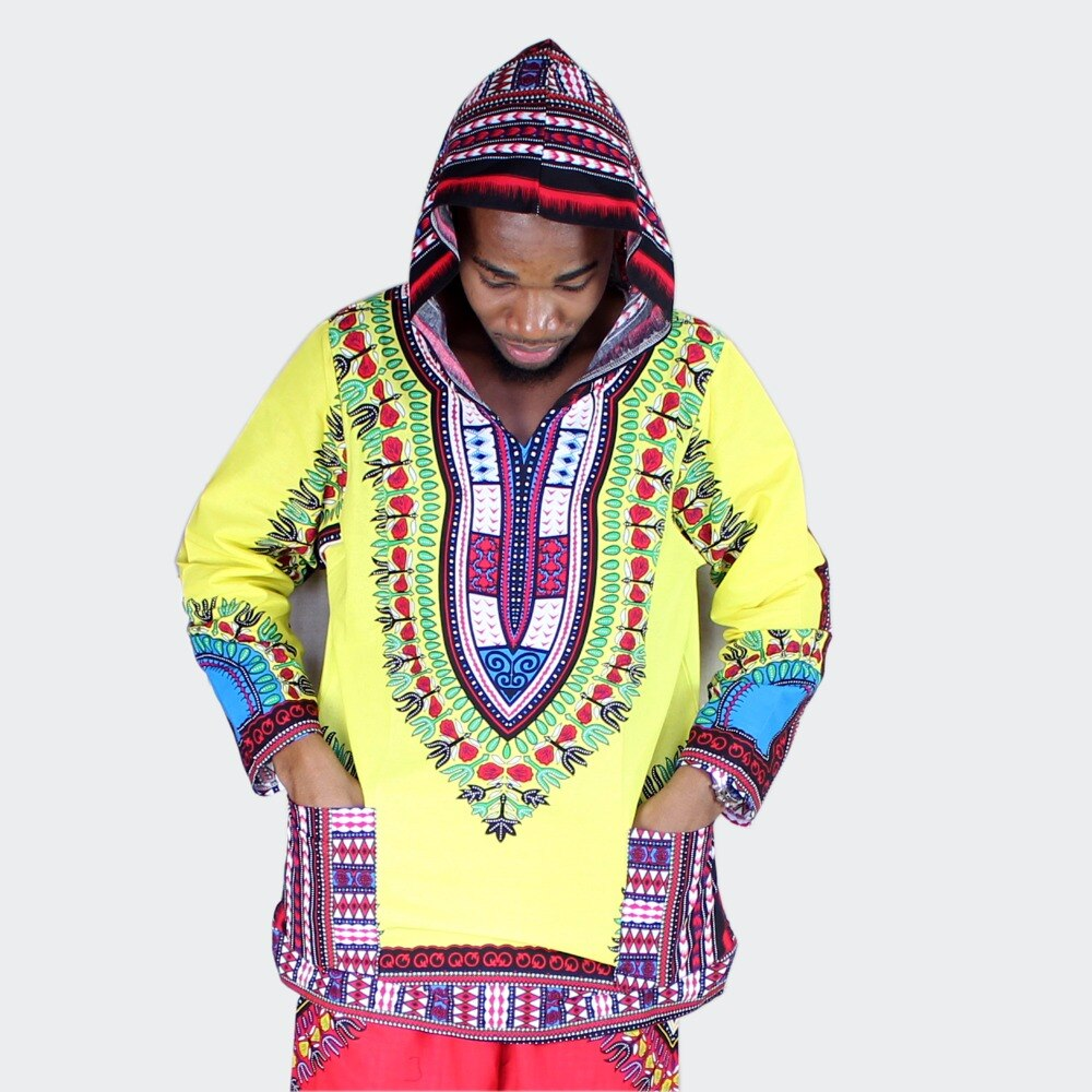 Dashikiage African Amercian Yellow and Red Long Sleeve 100% Cotton Hoody T-shirt Dashiki with Hood