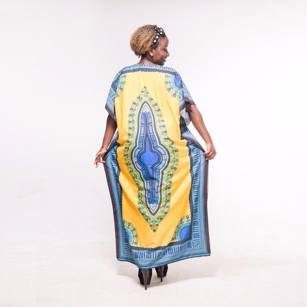 Dashikiage Fashion Women traditional African Print Beach Yellow Blue Dashiki Boho Maxi Long Dress
